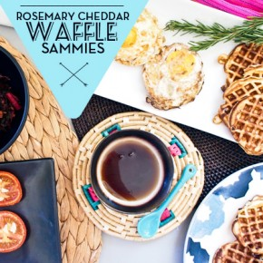 Mini Rosemary Cheddar Waffle Sandwiches: Let There Be Brunch!